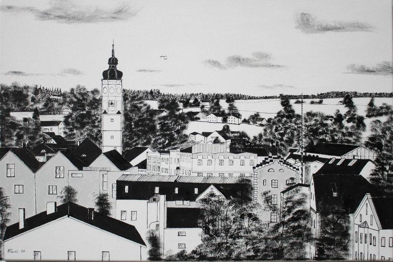 Das Bild zeigt Dorfen vom Schuxenberg aus. Es hat die Nr 54a und ist mit Ölfarben auf Leinwand gemalt. Das Format ist 60x40cm.