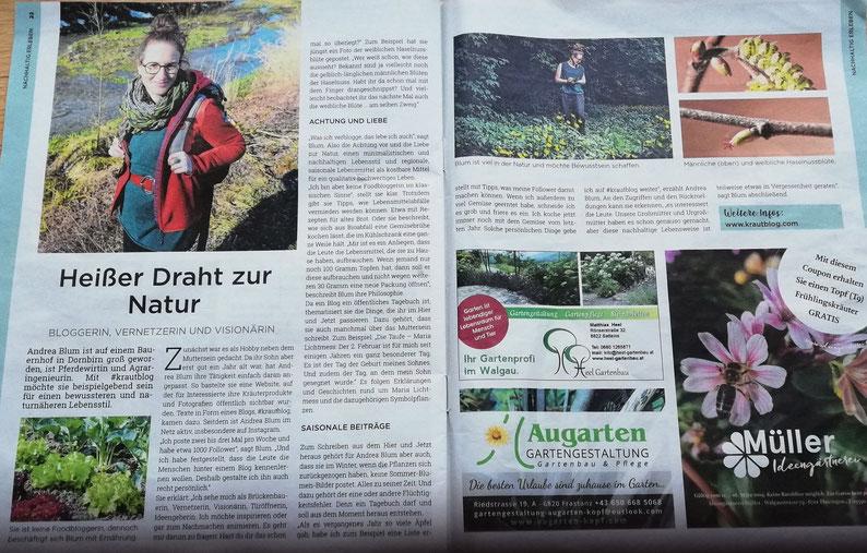 krautblog, NEUE Vorarlberger Tageszeitung, NEUE am Sonntag, Gartenlust, Gartengeschichten, Gartenblog, Garten, Balkongarten, urban garden, urban gardening, Krautbloggerin, Krautblogger, Die Krautbloggerin, #krautblog