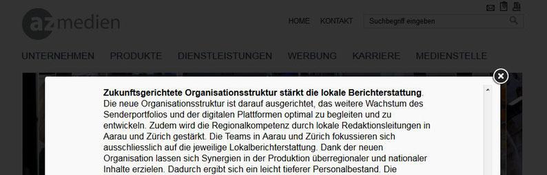 Medienmitteilung vom 27.9.2017 (Printscreen azmedien.ch)
