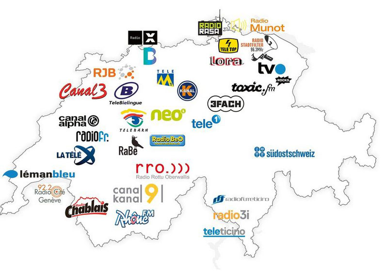 Karte der Schweiz mit 34 Sendern, die ebenfalls auf Gebühren angewiesen sind