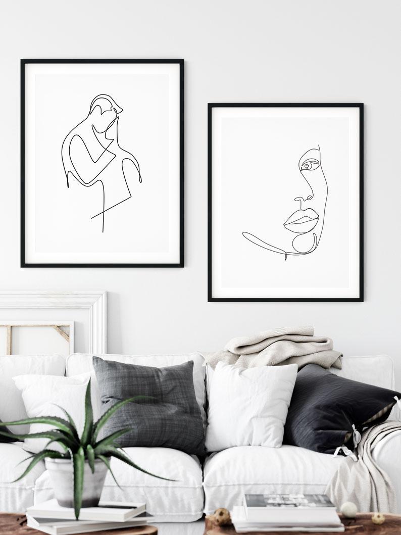 Kunstdruck personalisierte Sternenkarte Linie ART