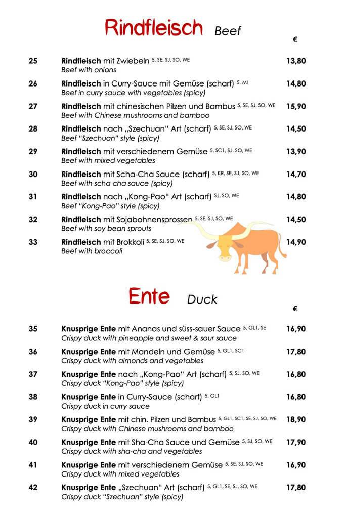 Rindfleisch und Ente