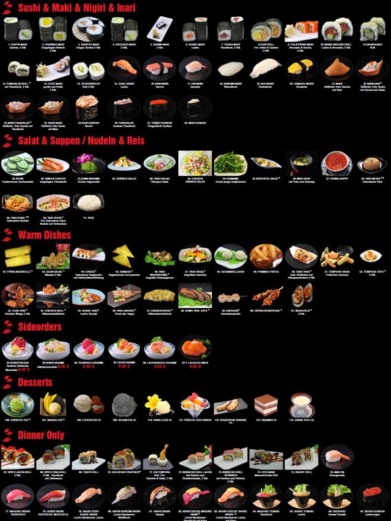 Riesige Auswahl im Restaurant Hokkaido mit chinesesischer und japanischer Küche.
