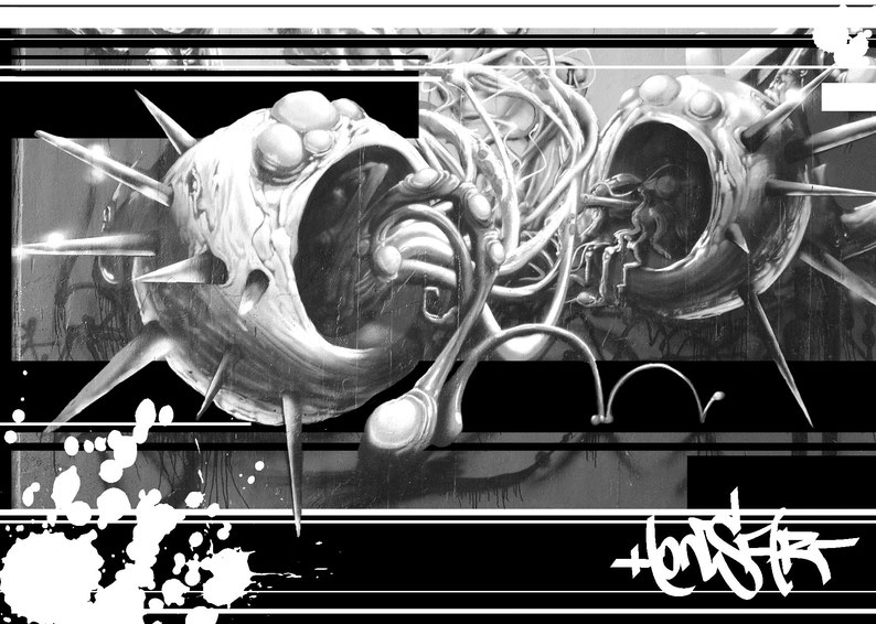 Graffiti, Honsar, Urbanart, Street Art, Black and White, Art