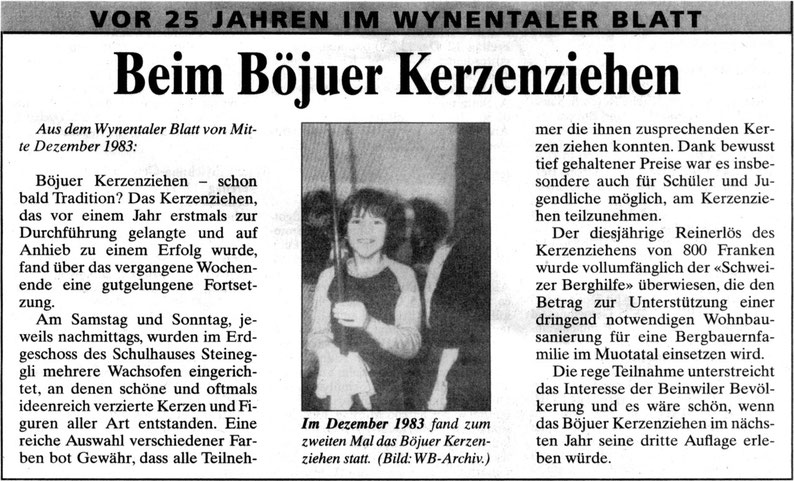 Kerzenziehen Beinwil am See Tradition 1983 Wynentaler Blatt