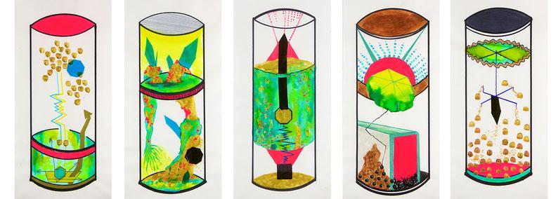 Katrin Leitner, Kristallisation, Zeichnung, Wissenschaft, Mineralogie, Kunst