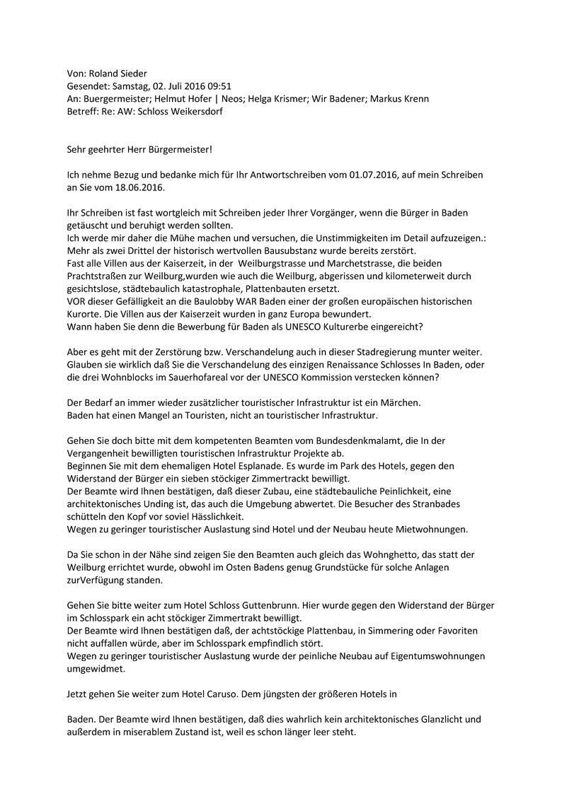 Die akute Gefahr für das Umfeld des Schlosshotel Weikersdorf durch ...