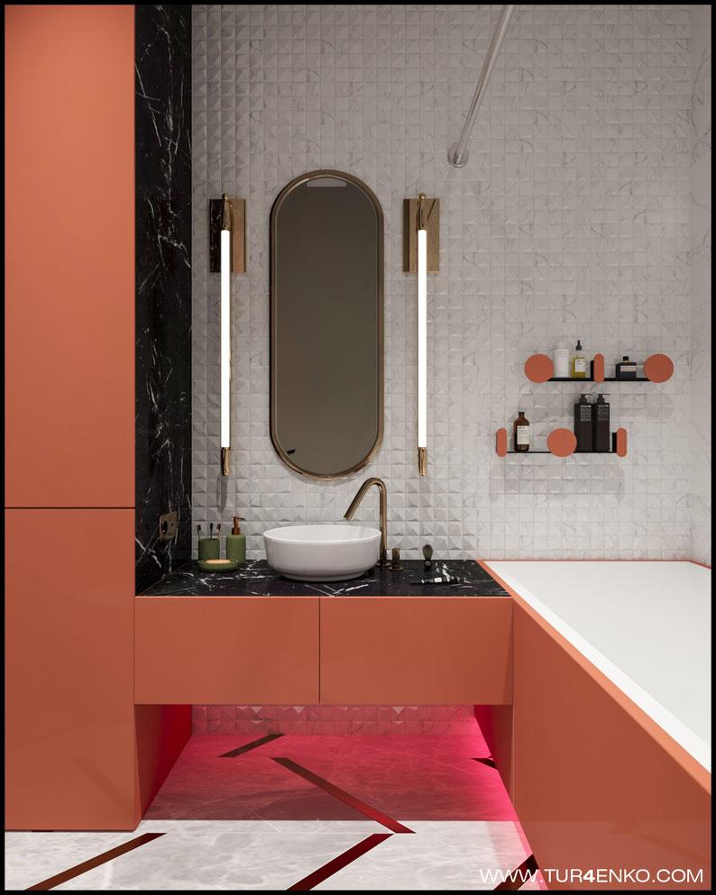 дизайн ванной в современном стиле в ЖК BAUMAN HOUSE 89163172980