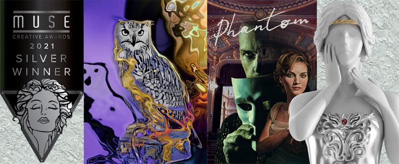 Muse Creative Awards 2021 Silver winner banner and statuette with Phantom and Majesty of an Owl artwork by Teresa Cowley