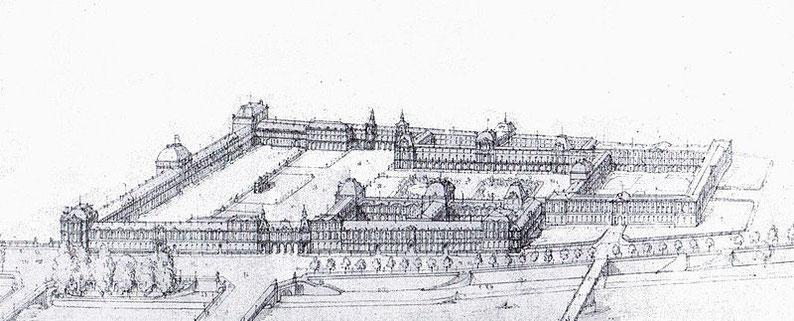 Hector Lefuel. Projet en partie réalisé de réunion du Louvre et des Tuileries en 1860.Archives nationales