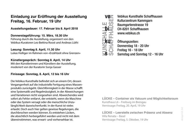 Lücke Container als Vakuum und Möglichkeitsraum - Kunsthaus L6 Freiburg, mit Felix Baudenbacher, Anja Braun, Ted Davis, Jean-Claude Houlmann, Claudia Keebler, Gerda Maise, Frédéric Pagace, Kuratorin Sonja Gasser