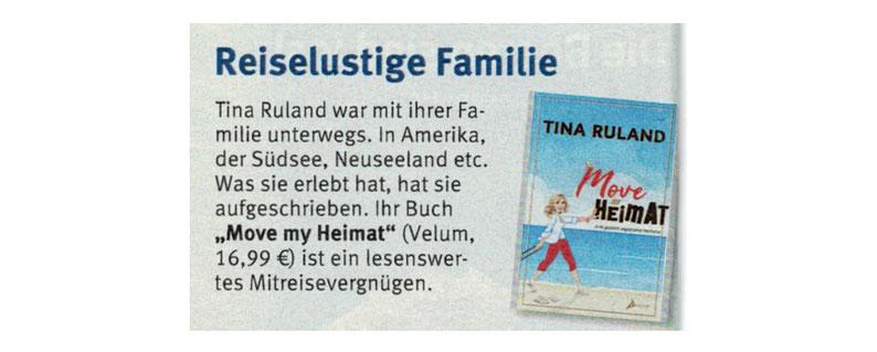 Presseberichte über Move my Heimat von Tina Ruland