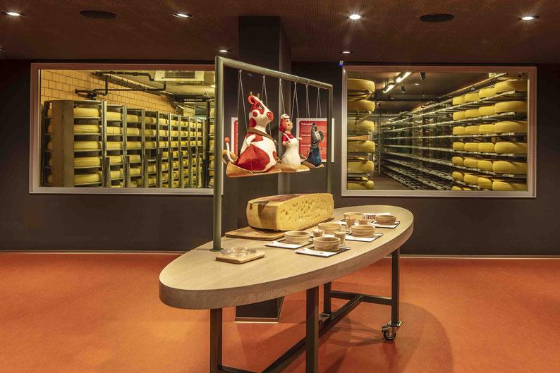 Degustation Emmentaler AOP zwischen den fast majestätisch aufgestellten Käse-Laibe. Eine natürliche Kulisse!