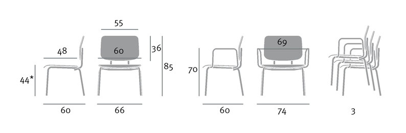 sumo - overweight-chair - dimensions in centimeters