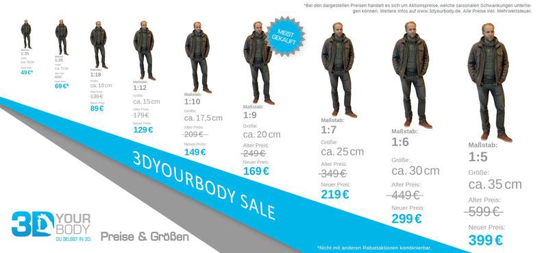 Preisliste für 3DyourBody in Berlin, Köln, München, Hamburg und Frankfurt am Main