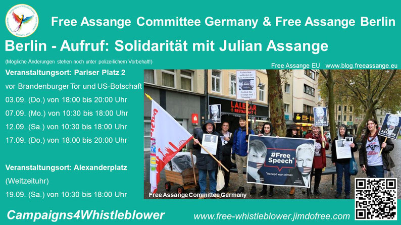 Berlin - Aufruf. Solidarität mit Julian Assange - https://free-whistleblower.jimdofree.com/