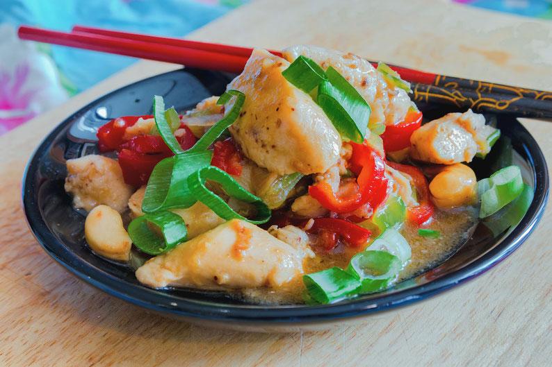 Glasiertes Huhn in Hoisin Sosse mit Cashewnüssen - Essen wie beim Chinesen Rezepte-Blog © Jutta M. Jenning mjpics