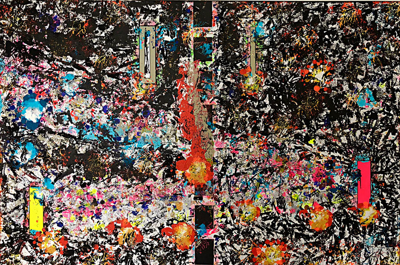 """Titel: """"OUT-OF-CONTROL CIRCUIT"""" (2018), 100 cm x 150 cm"""