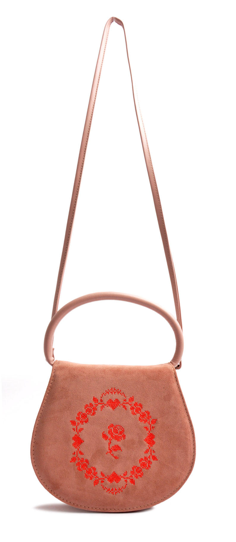 Schultertasche zur Tracht .  Leder rosa . versandkostenfrei bestellen OSTWALD Traditional Craft