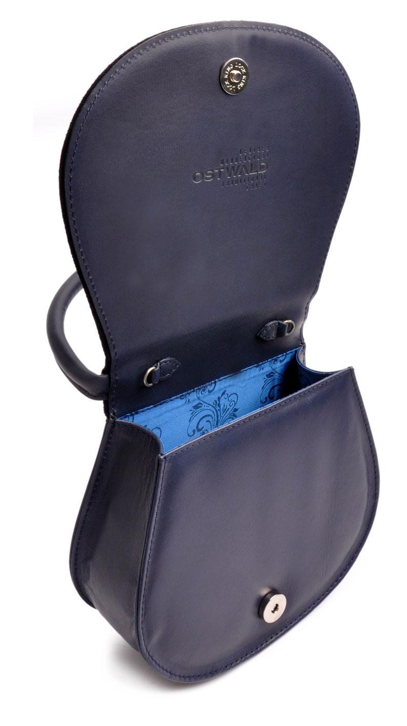 Blaue Trachtentasche  Leder versandkostenfrei bestellen OSTWALD Traditional Craft