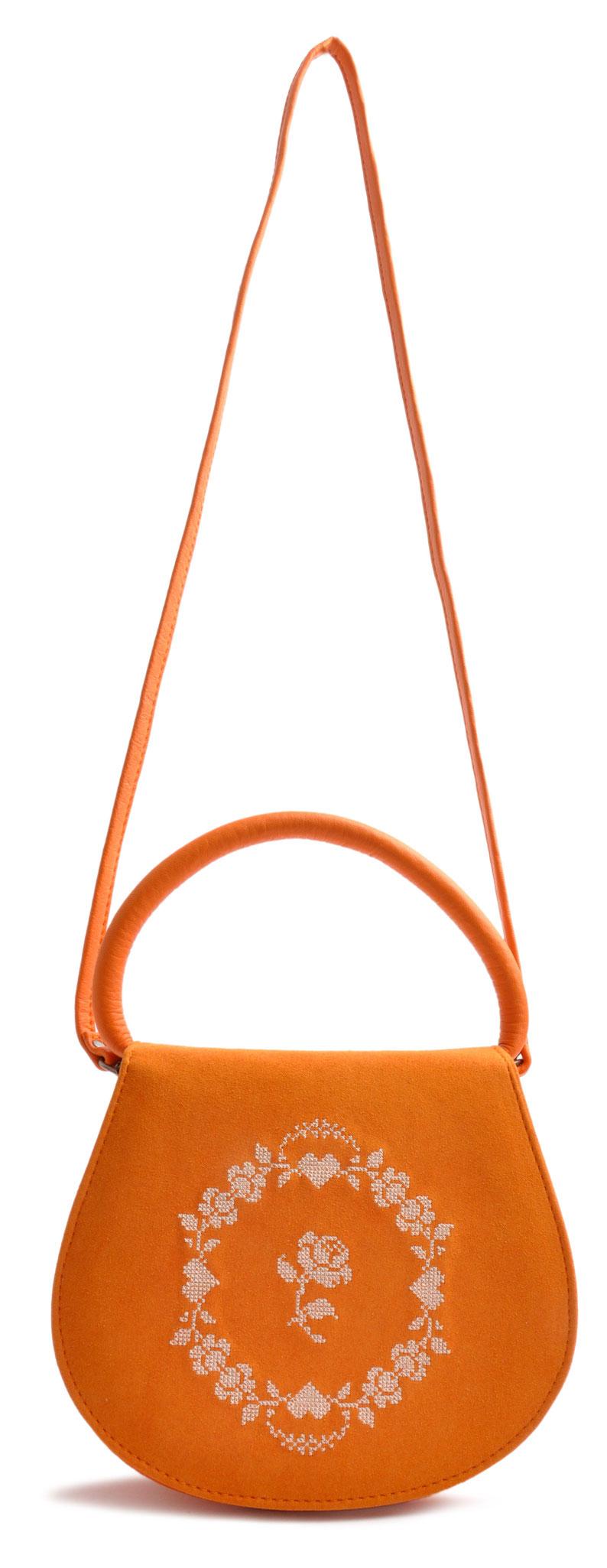 Schultertasche zur Tracht .  Leder orange . versandkostenfrei bestellen OSTWALD Traditional Craft