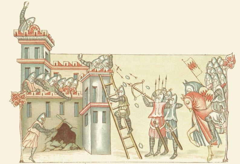 Belagerung einer Burg - Hist. Bild einer Burgerstürmung