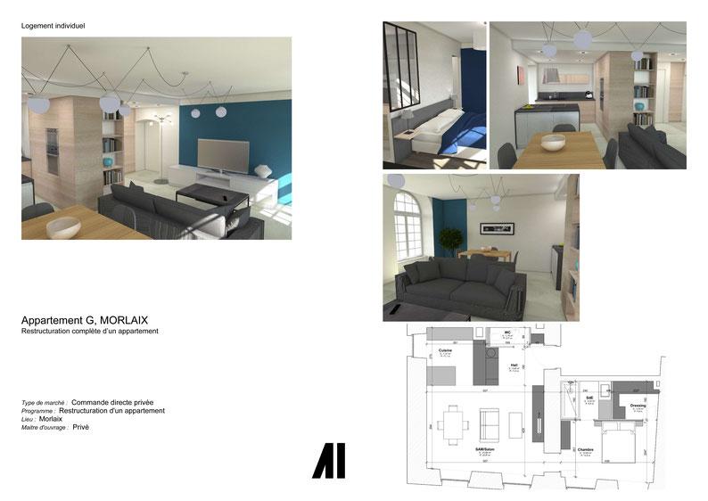Rénovation, agencement, décoration, travaux, appartement, Morlaix, Finistère, Bretagne