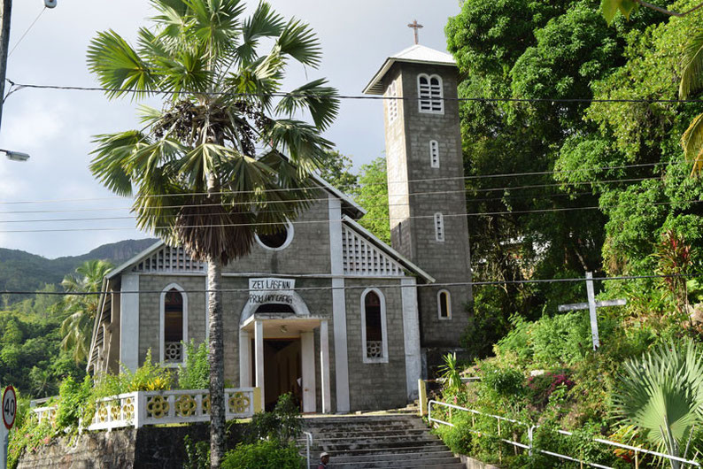 Our trip to the beautiful Seychelles islands - Beautiful church along the western coastline at Mahe