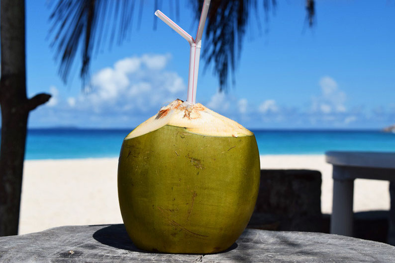 Our trip to the beautiful Seychelles islands - Sipping coconut water at La Digue