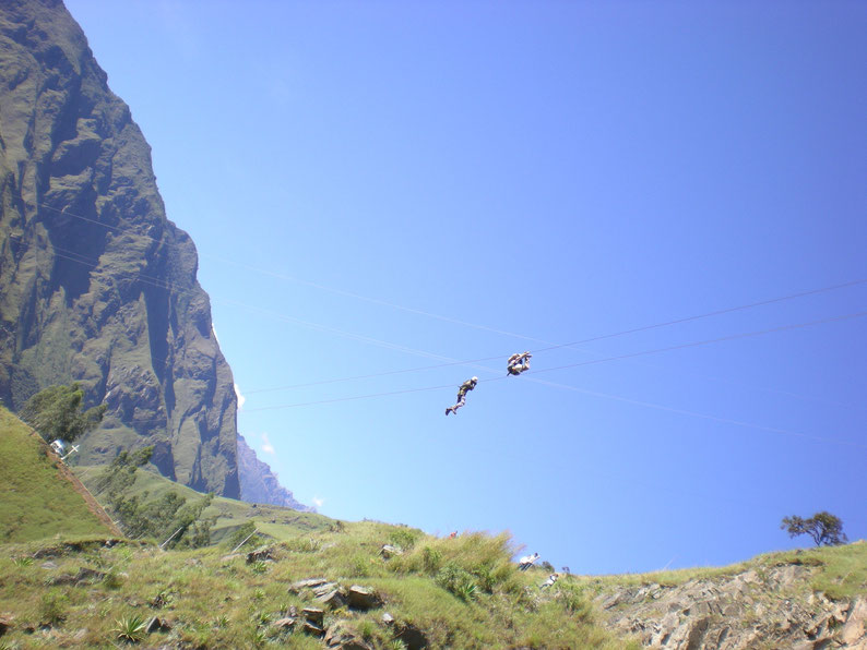Zip lining - Day 2 of the Inca Jungle Trek