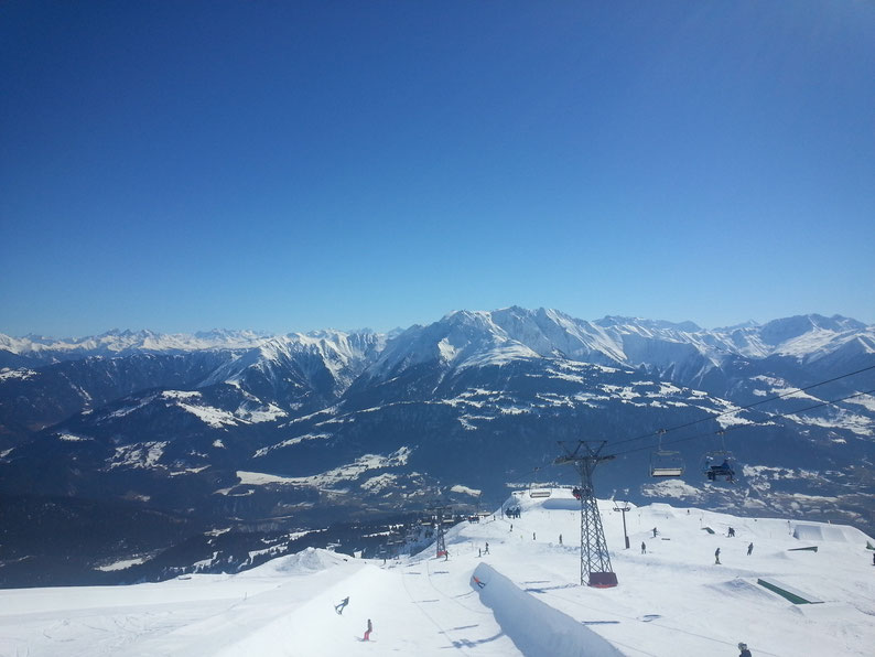 Skiing in Laax, Switzerland
