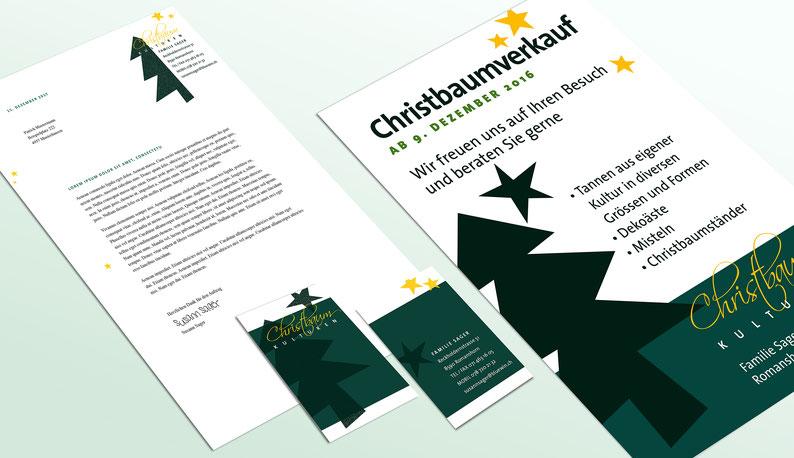 Anja Piffaretti, creative-island.ch, Christbaumverkauf Sager, Visitenkartendesign, Design Logo, Flyergestaltung
