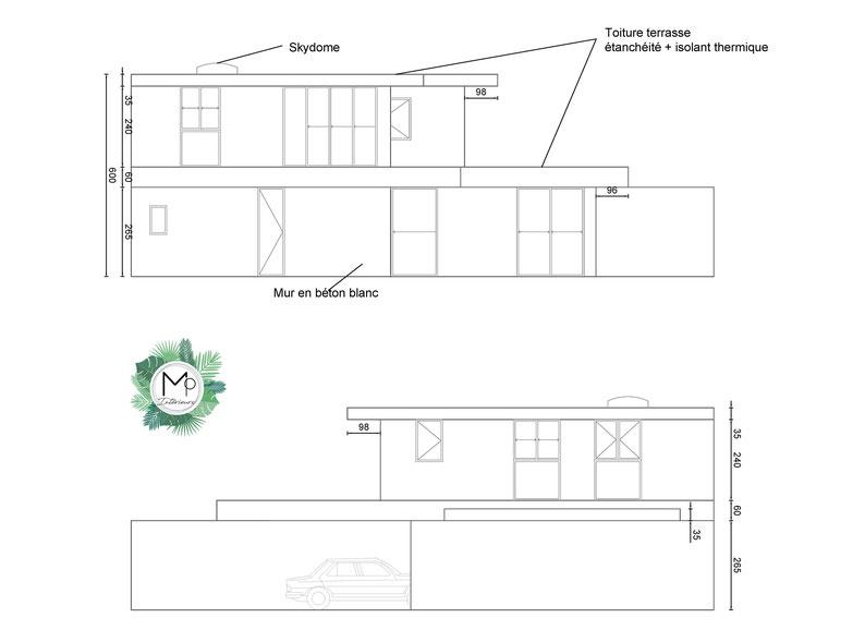 Projet de maison par MP intérieurs, Architecte d'intérieur UFDI : élévations extérieurs d'une maison, skydome, côtes, dimensions, toiture terrasse, porche de voiture.
