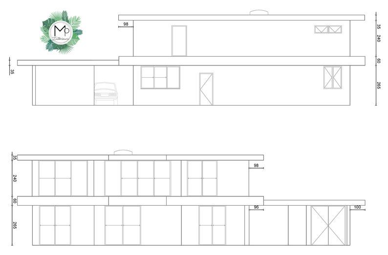 Projet de maison par MP intérieurs, Architecte d'intérieur UFDI : Elévations extérieures d'une maison, baies vitrées, dimensions, côtes, skydome, toit terrasse, porche de voiture.