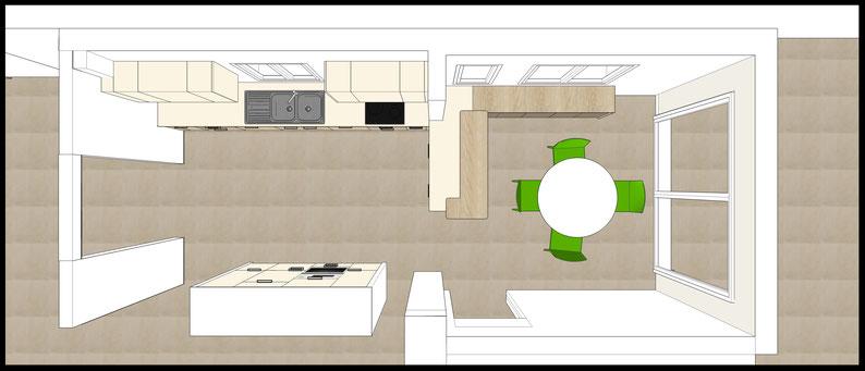 Projet de cuisine à Arcachon par MP intérieurs, Architecte d'intérieur UFDI : projection 3D en vue de dessus.