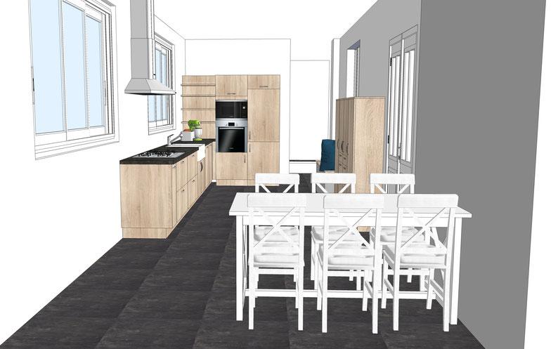Projet de cuisine par MP intérieurs, Architecte d'intérieur UFDI : familiale avec coin repas, en chêne avec rangement sur mesure, blanc, gris, bois
