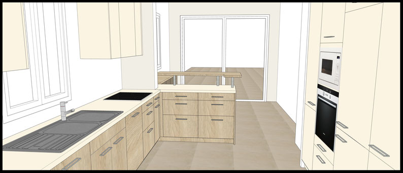 Projet de cuisine à Arcachon par MP intérieurs, Architecte d'intérieur UFDI : projection 3D