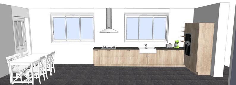 Projet de cuisine par MP intérieurs, Architecte d'intérieur UFDI : Du sur-mesure effet bois, chêne linéaire, évier rétro, colonnes four et réfrigérateur, coin repas, sol carrelage foncé anthracite.