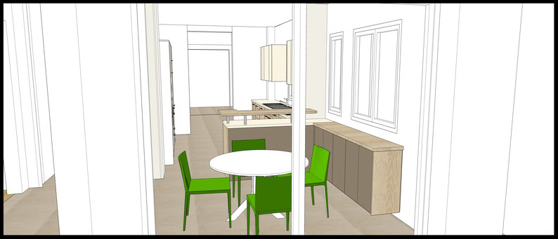 Projet de cuisine à Arcachon par MP intérieurs, Architecte d'intérieur UFDI : projection 3D avec vue de l'extérieur.