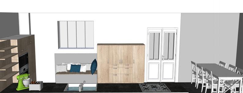 Projet de cuisine par MP intérieurs, Architecte d'intérieur UFDI : Effet bois en chêne, coin repas pour 6, colonnes de rangement, coin lecture familial, convivial, verrière atelier vers le salon.