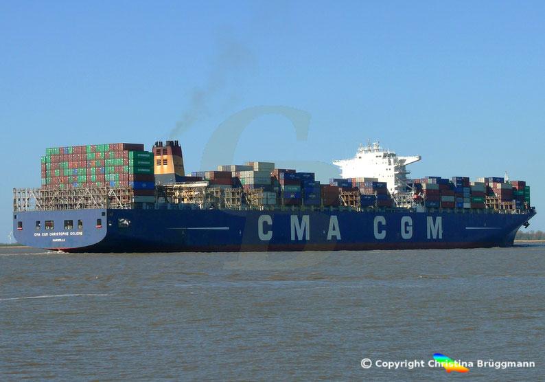 "Containerschiff  CMA CGM CHRISTOPHE COLOMB"" auf der Elbe 01.04.2019"