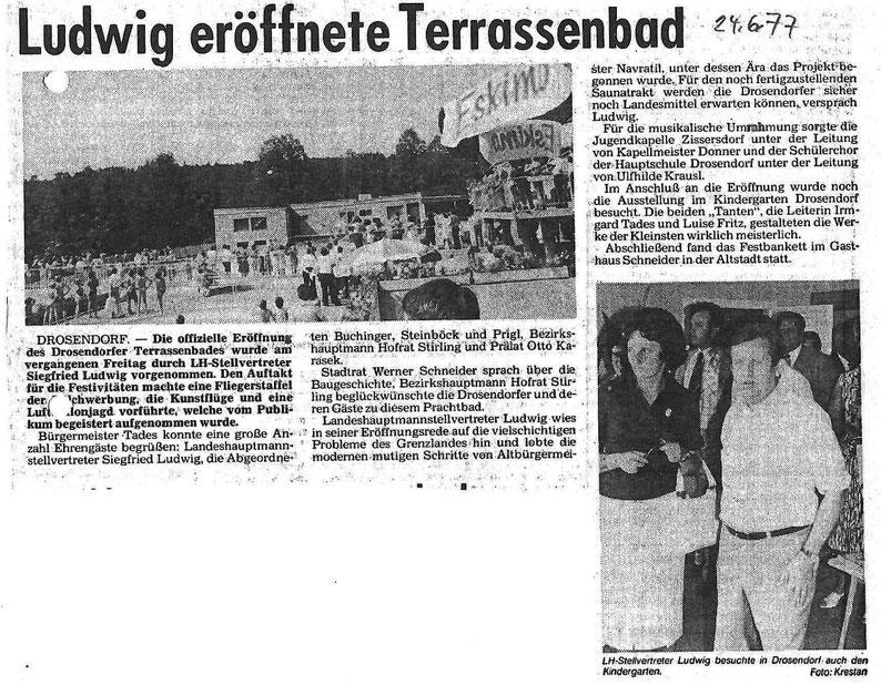 Zeitungsartikel 24. 6. 1977 Eröffnung des Terrassenbades