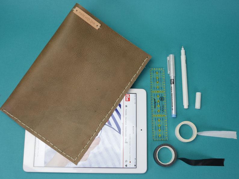 Heute zeige ich euch einfache und schnelle 3 Näh-Geschenkideen für Männer – Tablethülle aus Leder nähen