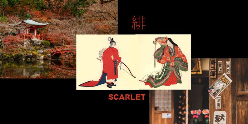 Mood-Collage über die japanische Farbe Aka, Ake oder auch Scarlet