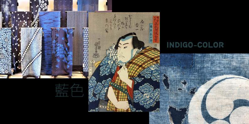 Mood-Collage über die japanische Farbe Ai oder auch Indigo