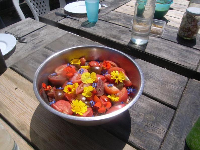 Salade de tomates avec des fleurs de bourrache, capucine et calendula