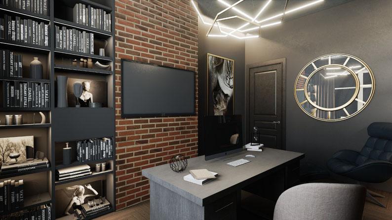 Дизайн интерьера кабинета в стиле лофт в загородном доме, дизайнер Анастасия Корябкина