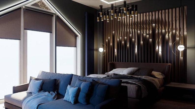 Темная спальня для мужчины. Корябкина дизайн