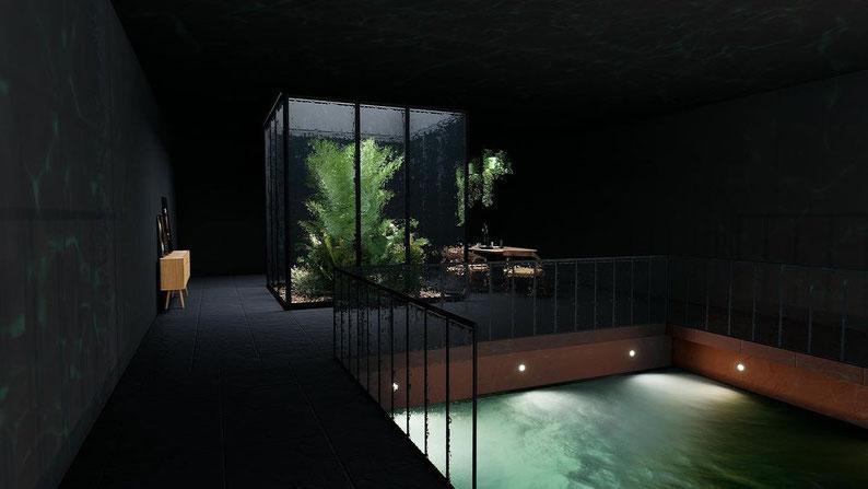 Интерьер спа зоны с бассейном в темных тонах. Дизайн Анастасия Корябкина