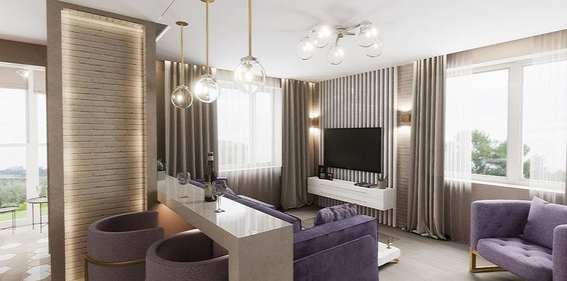 квартира-студия для молодой пары. Фиолетовый цвет в интерьере. Анастасия Корябкина